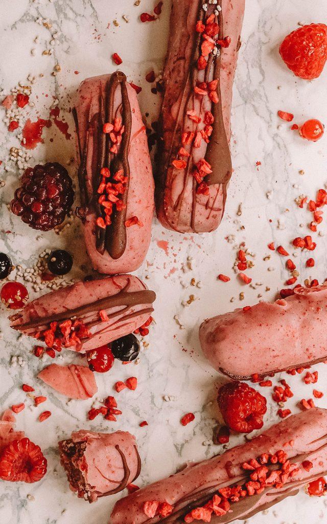 Pink Vegan Raspberry Bars no-bake
