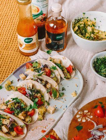 Vegan Salsa Verde Pineapple tacos