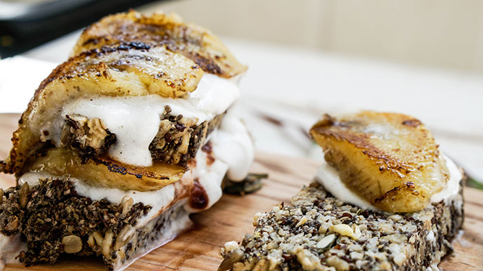 Glutenfree Seed Bread with Coconut Cream and Caramelized Cardamom Bananas