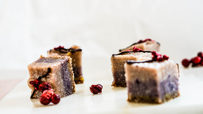 Raw Blueberry Cashew Cheesecake Bites
