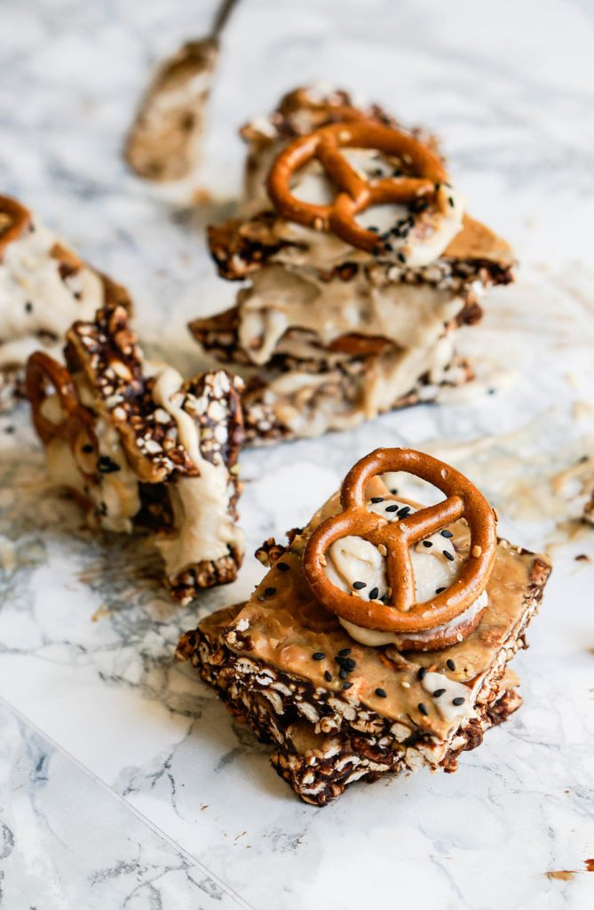 Peanut Butter Pretzel Pop Bars with Maca Cream