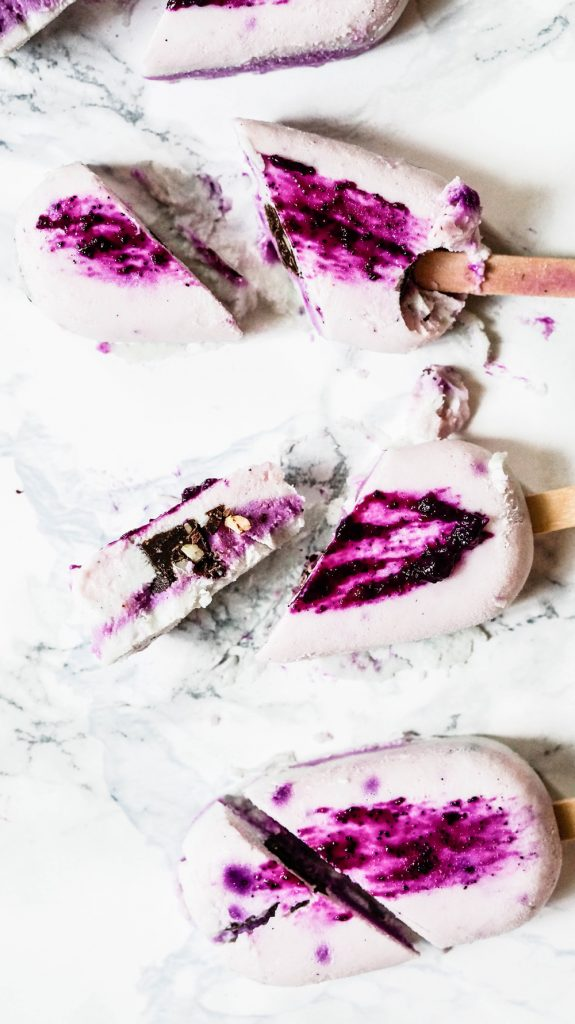 Handbrushed Dragonfruit Popsicles with Chocolate Core Vegan