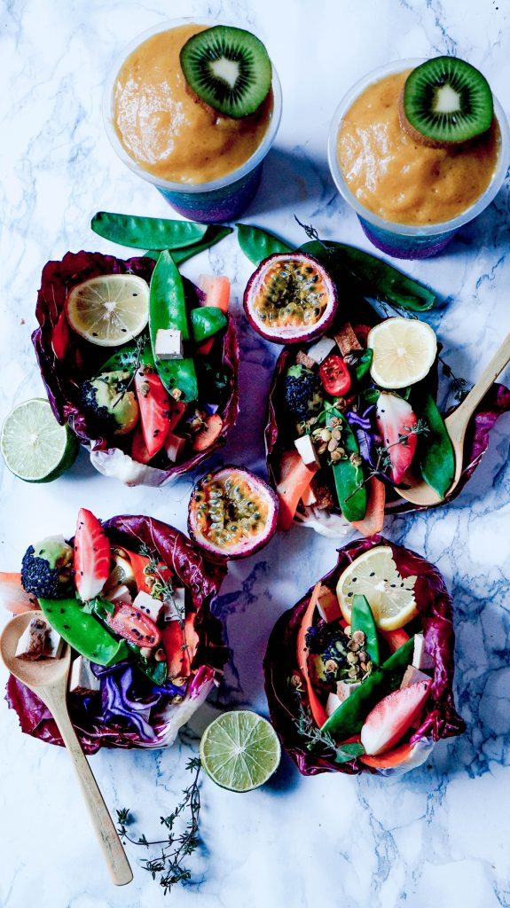 Raw Radicchio Wraps with Spicy Peanut Tofu