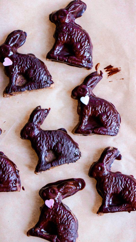 DIY Raw Vegan Easter Bunny Treats Sugarfree Glutenfree with Chocolate Coating